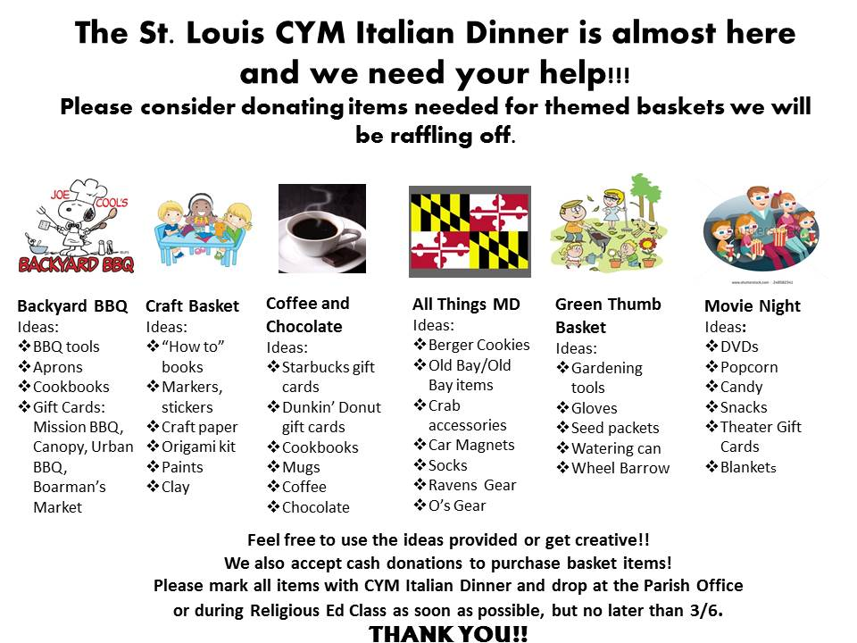 ITALIAN DINNER DONATIONS NEEDED!